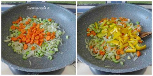 aggiungere carote e peperoni