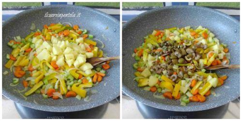 aggiungere patate, olive e capperi