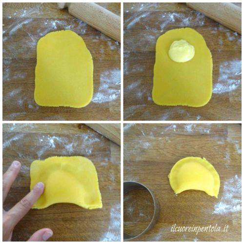 stendere frolla e aggiungere crema
