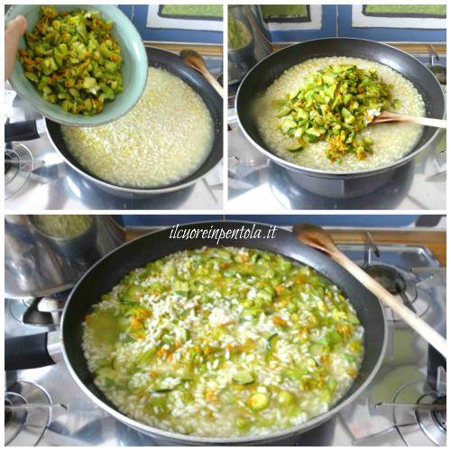 aggiungere fiori di zucca e zucchine