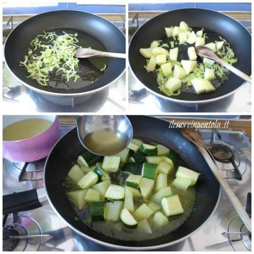 soffriggere porro e aggiungere patata