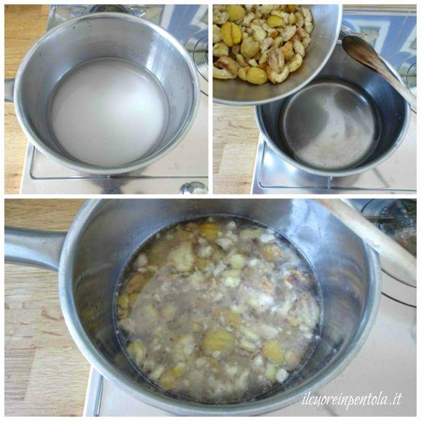 mettere sul fuoco acqua zucchero e castagne
