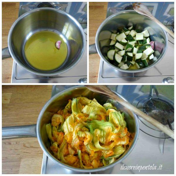 cuocere zucchine e fiori di zucca