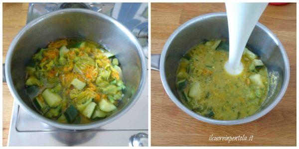 frullare zucchine e fiori di zucca