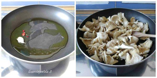 versare olio e aglio in una padella
