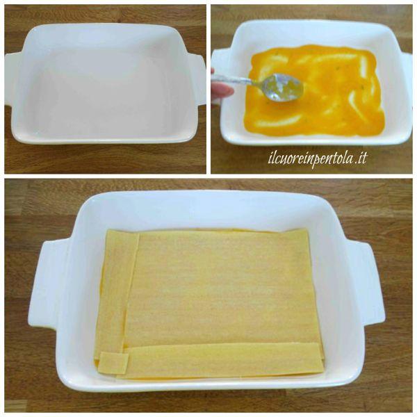 preparare primo strato di lasagne