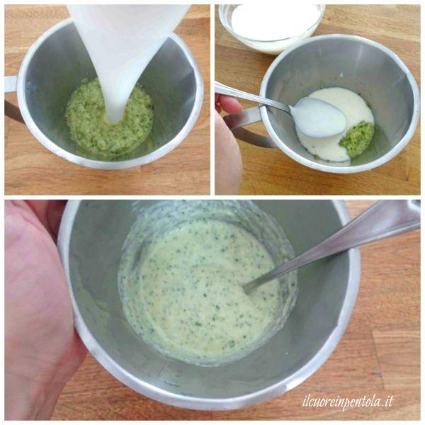 frullare zucchine e aggiungere besciamella