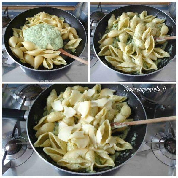 aggiungere crema di zucchine e mozzarella