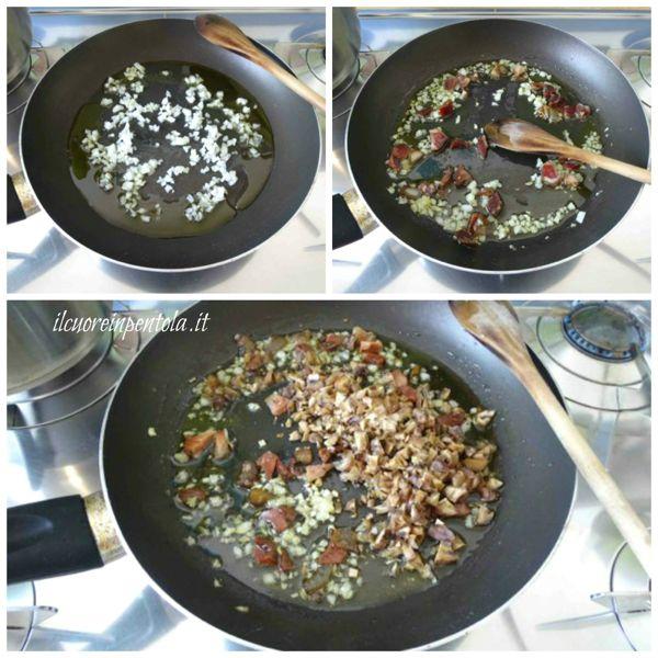 preparare soffritto e aggiungere speck e castagne