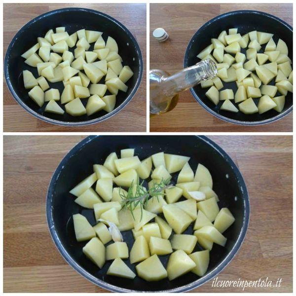 tagliare patate e metterle nella teglia