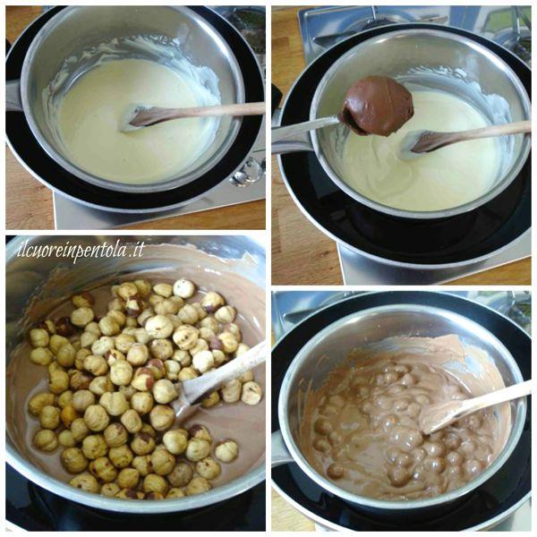 sciogliere cioccolato bianco e aggiungere nutella e nocciole