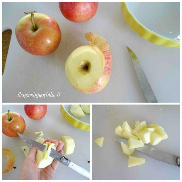 sbucciare e tagliare mele