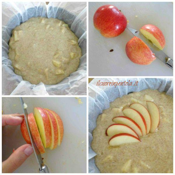 decorare torta con mele a fettine
