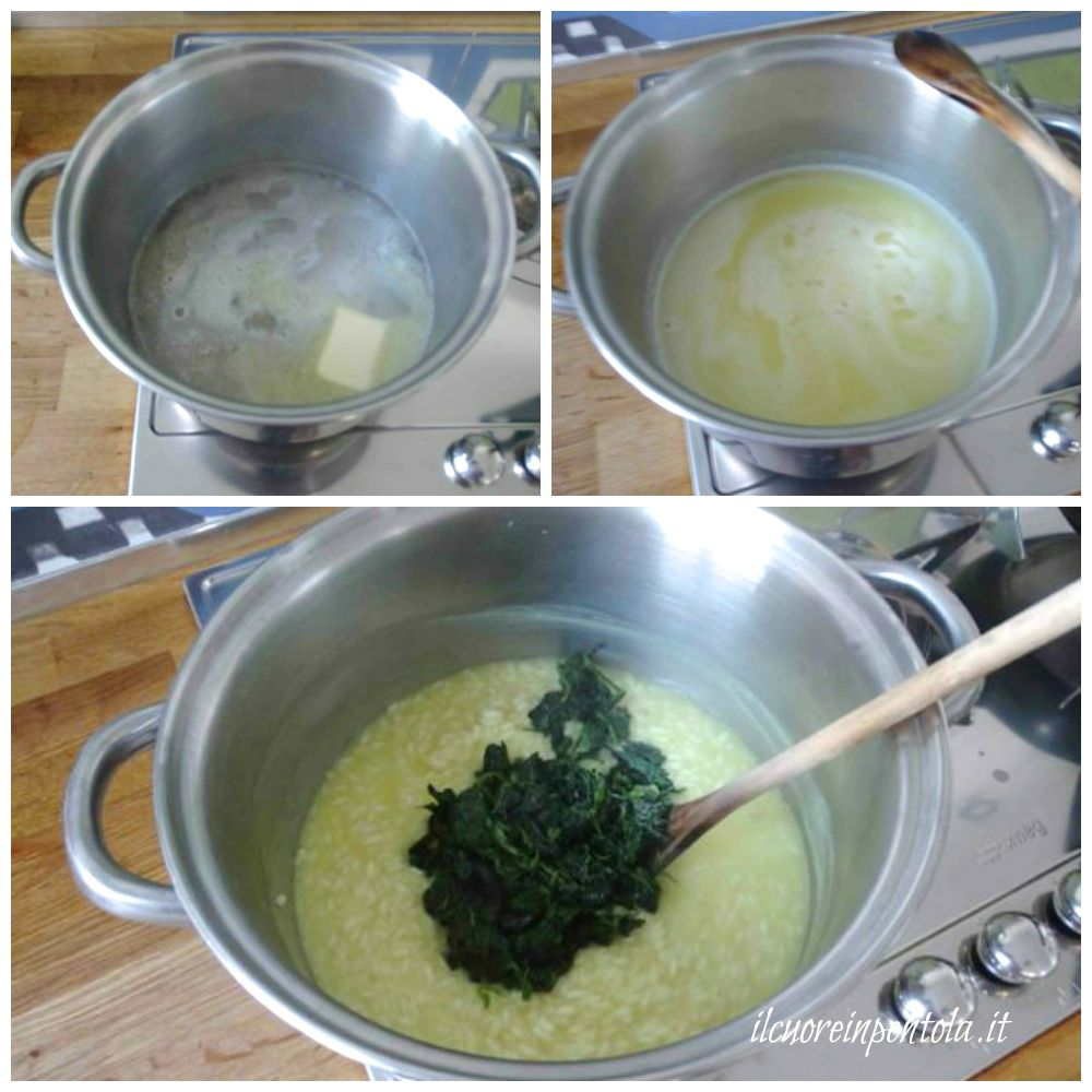 cuocere riso e aggiungere spinaci