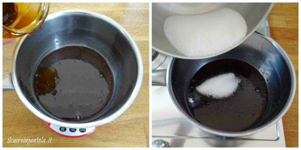 scaldare miele e aggiungere zucchero