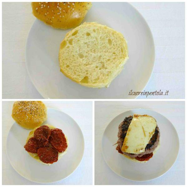 tagliare panino e aggiungere pomodori secchi e hamburger