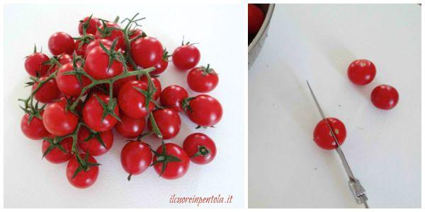 lavare e tagliare pomodori