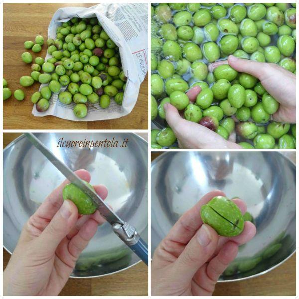 lavare e incidere olive