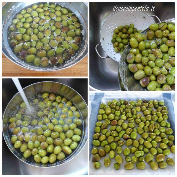 scolare olive e fare asciugare