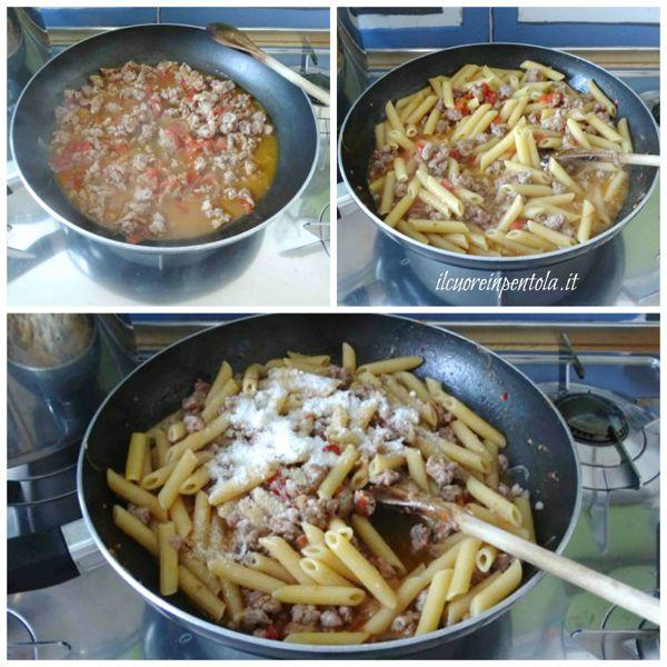 mantecare pasta con la salsiccia