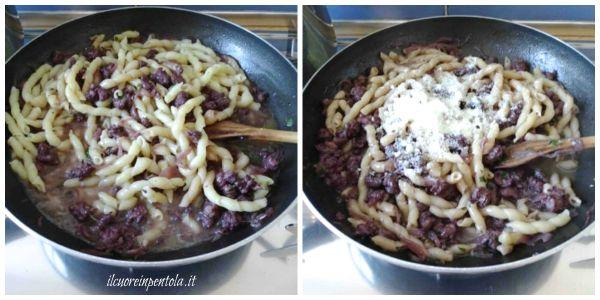 mantecare pasta con sugo di salsiccia
