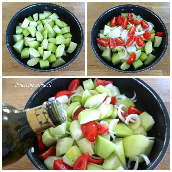 aggiungere cipolla e pomodoro e infornare