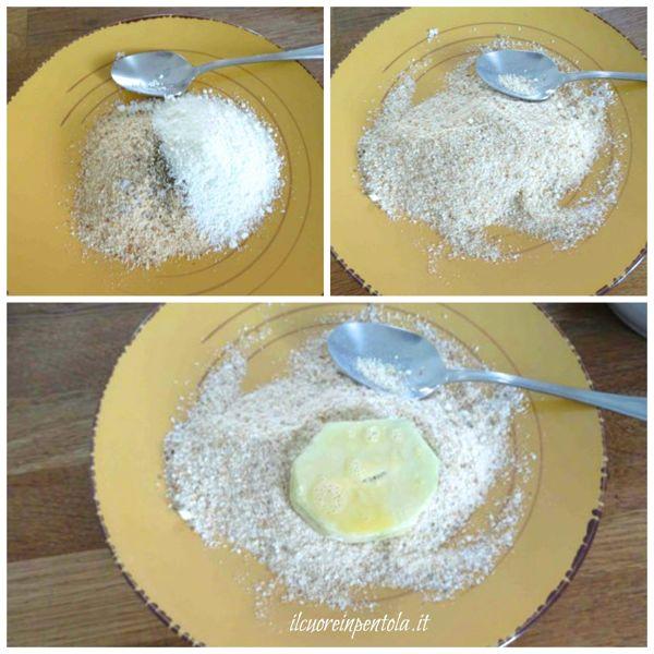 passare zucchine nell'uovo e nel pangrattato
