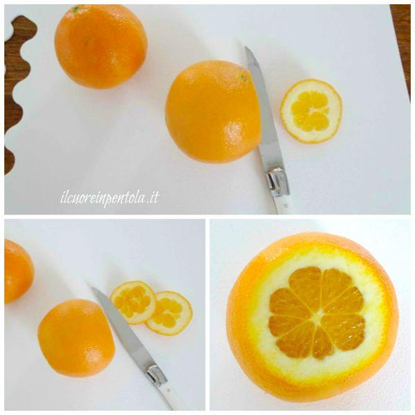 tagliare estremità dell'arancia