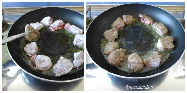 infarinare e rosolare carne