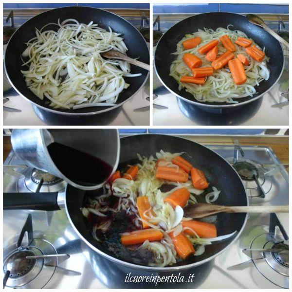 preparare soffritto di cipolle e carote