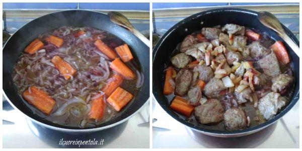 aggiungere vino, il brodo, la carne e la pancetta