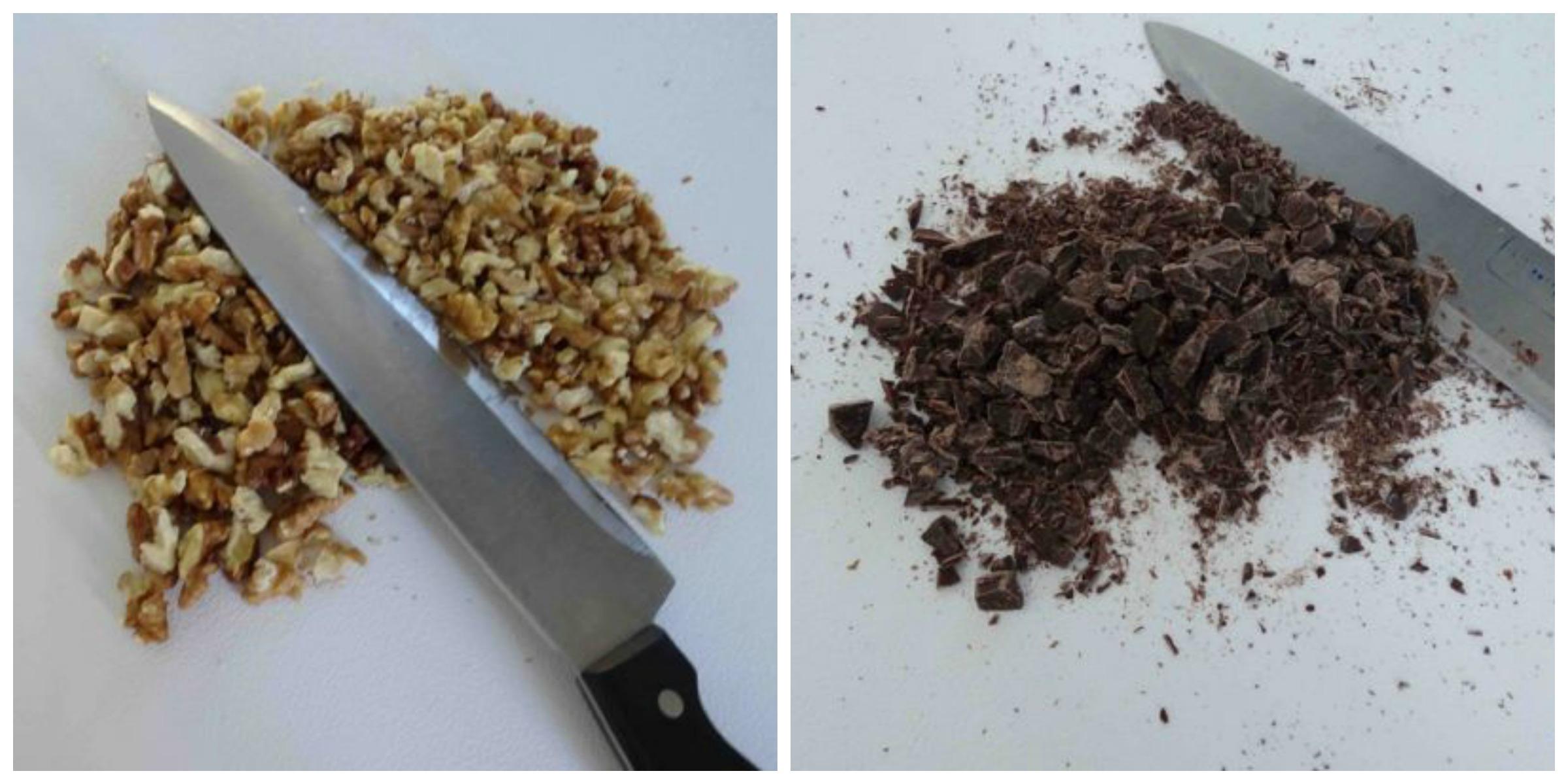 tritate noci e cioccolato