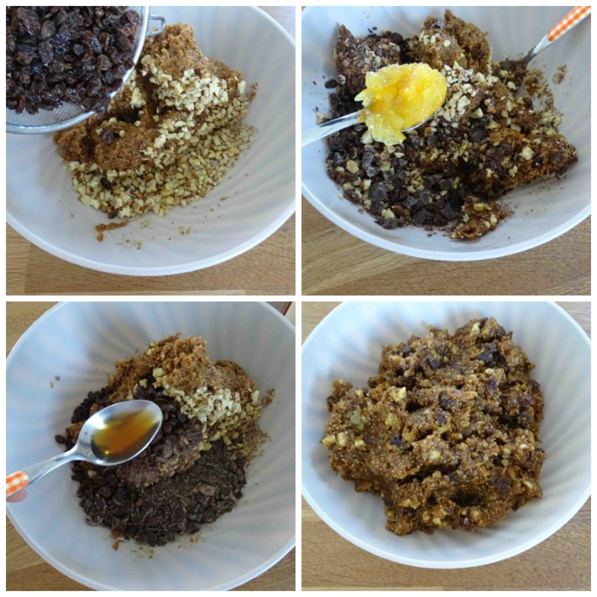 aggiungere noci cioccolato e marmellata