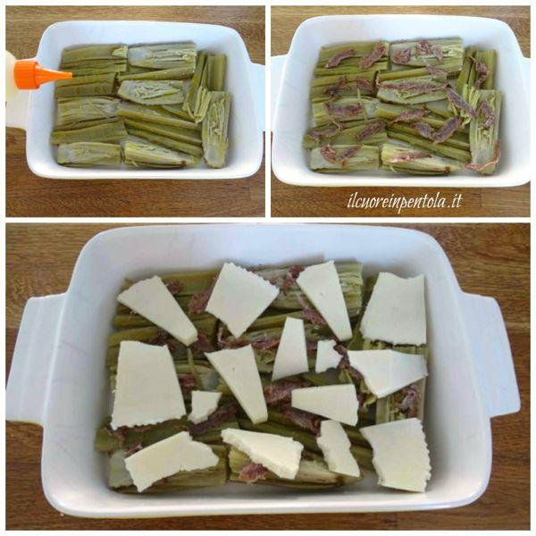 insaporire cardi con acciughe e formaggio