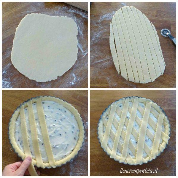 decorare la crostata con striscioline di pasta frolla