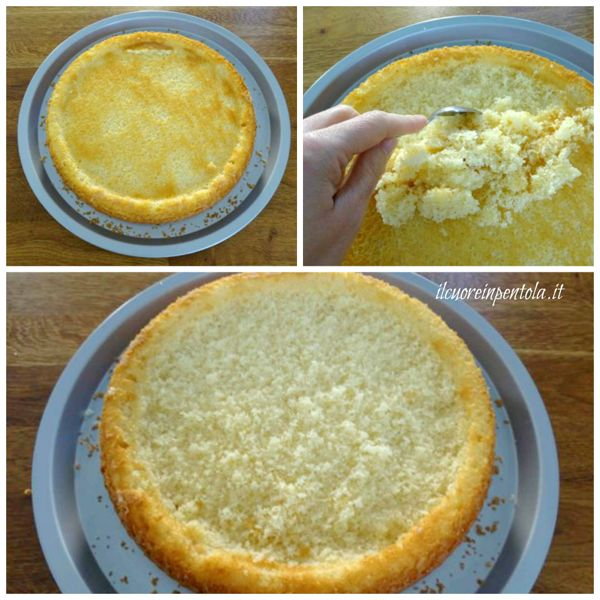 raschiare superficie del pan di spagna
