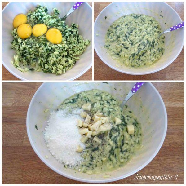 aggiungere uova e formaggio al riso