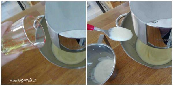 aggiungere olio yogurt e farina