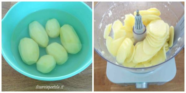 pelare e affettare patate