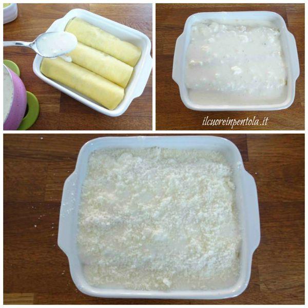ricoprire cannelloni con salsa al taleggio