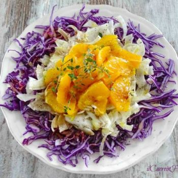 insalata di cavolo rosso finocchi e arance