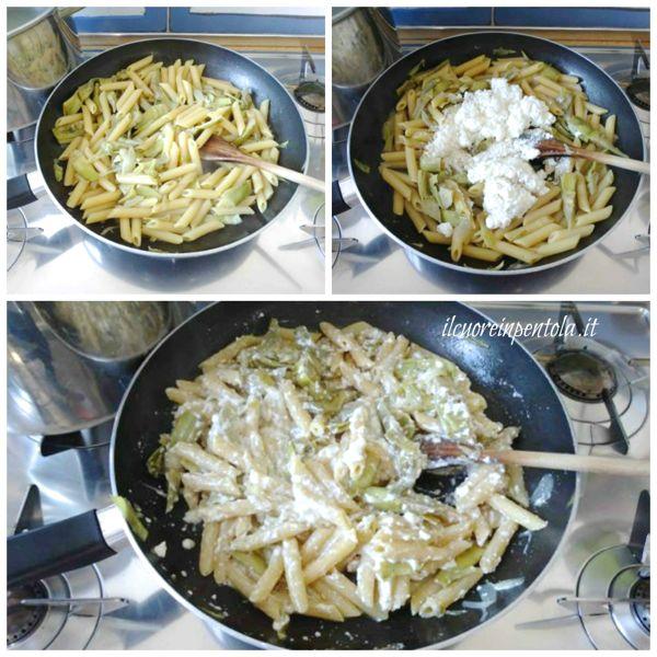 mantecare pasta con carciofi e ricotta