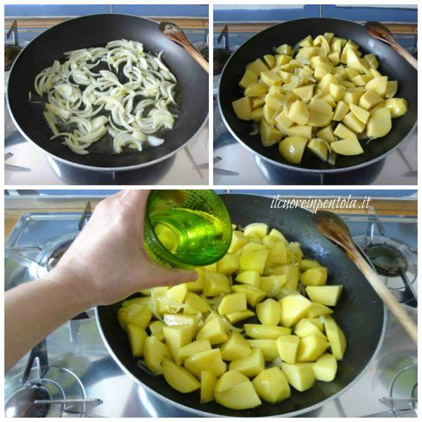 soffriggere cipolla e aggiungere patate