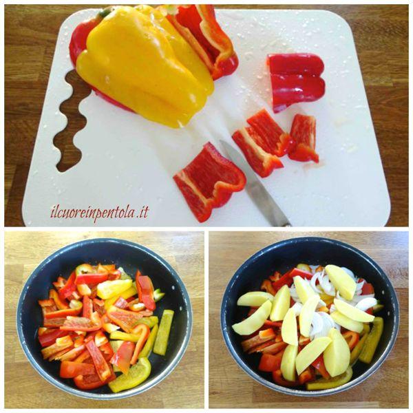 tagliare peperoni cipolle e patate
