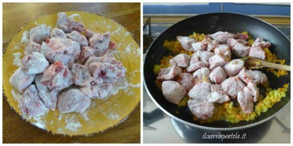 passare carne nella farina e rosolare