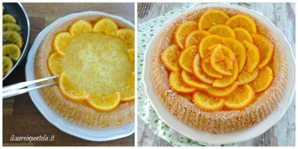 decorare torta con arance caramellate
