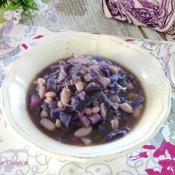 zuppa di cavolo rosso e fagioli