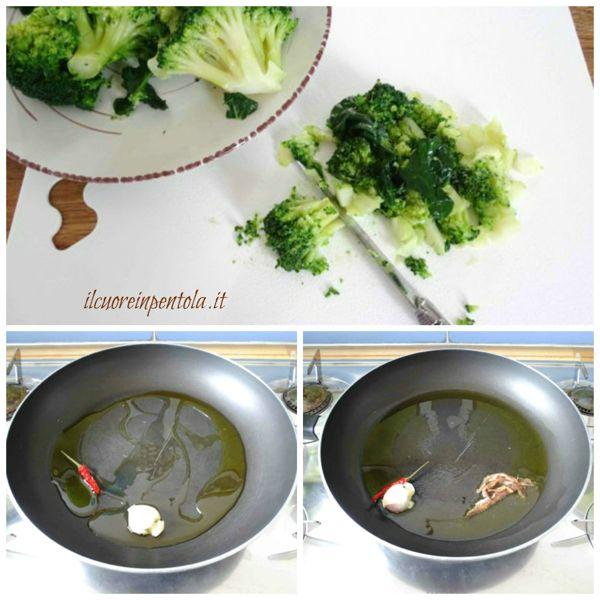 tagliare broccoli e preparare soffritto