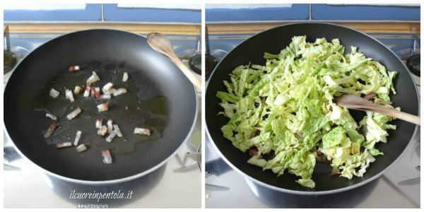 rosolare pancetta e aggiungere verza