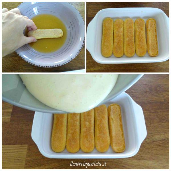 inzuppare savoiardi e aggiungere crema
